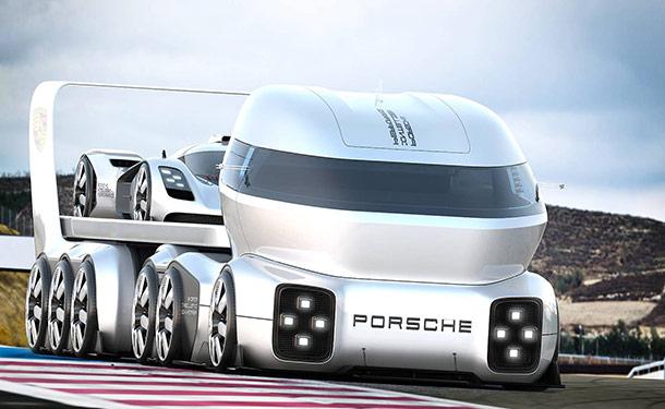 مصمم يتخيل شاحنة مستقبلية من بورشه مخصصة لنقل سيارات السباق