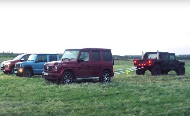 شاهد: هامر القوية تتحدى سيارات مرسيدس-بنز وسوزوكي وميتسوبيشي في لعبة شد الحبل