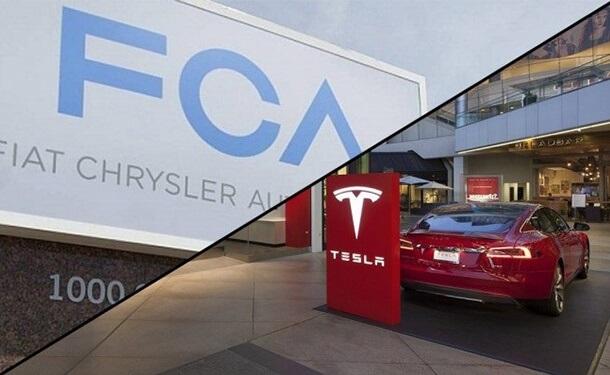 شعار فيات-كرايسلر وتسلا الأمريكية للسيارات الكهربائية